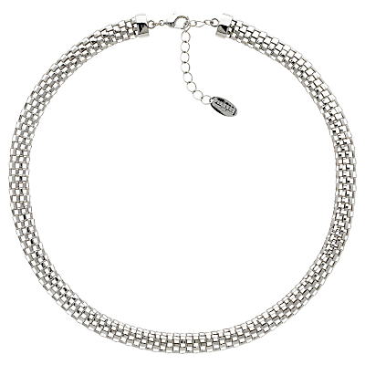 Mesh Collar Necklace - predominant colour: silver; occasions: evening; length: short; size: standard; material: chain/metal; finish: metallic; season: a/w 2015; style: chain (no pendant)