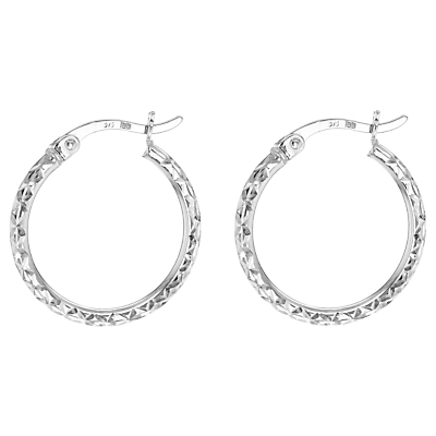 9ct White Gold Diamond Cut Creole Hoop Earrings, White Gold - predominant colour: silver; occasions: evening, occasion; style: hoop; length: mid; size: standard; material: chain/metal; fastening: pierced; finish: metallic; season: a/w 2015; wardrobe: event
