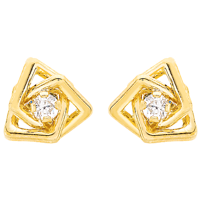 9ct Yellow Gold Cubic Zirconia Triple Square Stud Earrings, Yellow Gold - predominant colour: gold; occasions: evening, occasion; style: stud; length: short; size: small/fine; fastening: pierced; finish: metallic; material: animal skin; embellishment: crystals/glass; season: a/w 2015; wardrobe: event