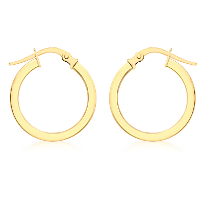 9ct Yellow Gold Creole Hoop Medium Earrings, Gold - predominant colour: gold; occasions: casual, creative work; style: hoop; length: mid; size: standard; material: chain/metal; fastening: pierced; finish: metallic; season: a/w 2015; wardrobe: basic