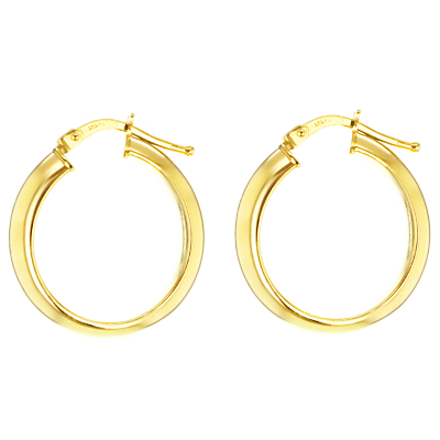 9ct Yellow Gold Large Creole Hoop Earrings, Gold - predominant colour: gold; occasions: evening, creative work; style: hoop; length: mid; size: standard; material: chain/metal; fastening: pierced; finish: metallic; season: a/w 2015