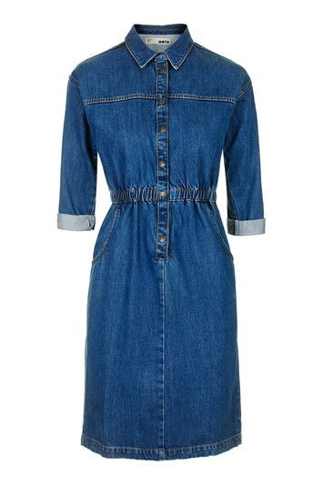 Moto Vintage Wash Denim Dress - style: shirt; length: mid thigh; neckline: shirt collar/peter pan/zip with opening; fit: fitted at waist; pattern: plain; waist detail: elasticated waist; predominant colour: navy; occasions: casual, creative work; fibres: cotton - stretch; sleeve length: 3/4 length; sleeve style: standard; texture group: denim; pattern type: fabric; trends: chic girl, tomboy girl; season: s/s 2016