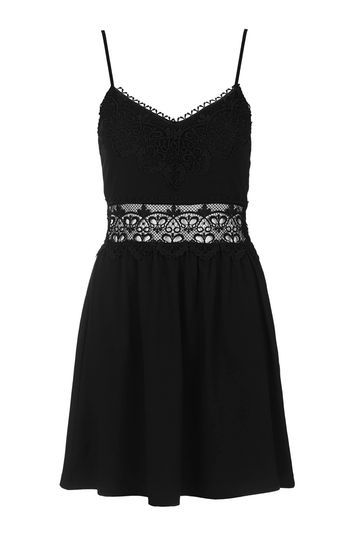 Lace Insert Sundress - length: mid thigh; neckline: low v-neck; sleeve style: spaghetti straps; pattern: plain; style: sundress; predominant colour: black; occasions: casual; fit: fitted at waist & bust; fibres: cotton - mix; sleeve length: sleeveless; texture group: cotton feel fabrics; pattern type: fabric; embellishment: lace; trends: pretty girl; season: s/s 2016; wardrobe: highlight