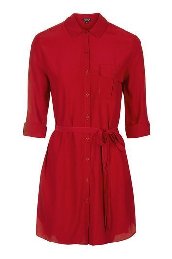 Belted Shirt Dress - style: shirt; length: mid thigh; neckline: shirt collar/peter pan/zip with opening; fit: fitted at waist; pattern: plain; waist detail: belted waist/tie at waist/drawstring; predominant colour: terracotta; occasions: casual, creative work; fibres: polyester/polyamide - 100%; sleeve length: 3/4 length; sleeve style: standard; texture group: crepes; pattern type: fabric; trends: chic girl, tomboy girl; season: s/s 2016
