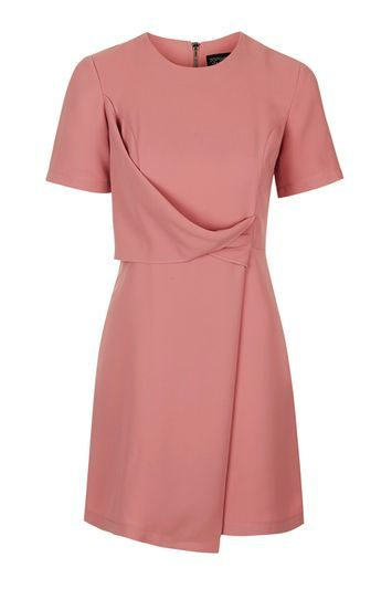 Drape Shift Dress - style: shift; fit: tailored/fitted; pattern: plain; predominant colour: pink; occasions: evening, creative work; length: just above the knee; fibres: polyester/polyamide - 100%; neckline: crew; sleeve length: short sleeve; sleeve style: standard; pattern type: fabric; texture group: other - light to midweight; trends: glossy girl, pretty girl; season: s/s 2016; wardrobe: highlight