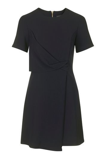 Drape Shift Dress - style: shift; fit: tailored/fitted; pattern: plain; hip detail: draws attention to hips; predominant colour: navy; occasions: evening, creative work; length: just above the knee; fibres: polyester/polyamide - 100%; neckline: crew; sleeve length: short sleeve; sleeve style: standard; pattern type: fabric; texture group: other - light to midweight; trends: chic girl, glossy girl; season: s/s 2016; wardrobe: investment