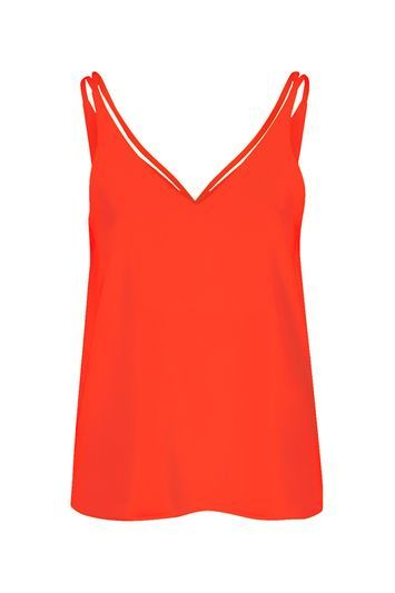 Double Strap V Front Cami - neckline: low v-neck; pattern: plain; sleeve style: sleeveless; style: vest top; predominant colour: true red; occasions: casual, creative work; length: standard; fibres: polyester/polyamide - 100%; fit: body skimming; sleeve length: sleeveless; pattern type: fabric; texture group: other - light to midweight; season: s/s 2016; wardrobe: highlight