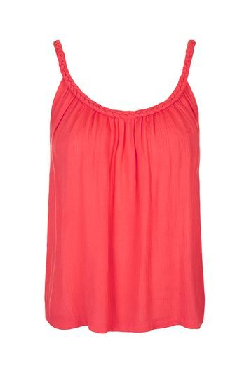 Plaited Strap Casual Cami Top - sleeve style: spaghetti straps; pattern: plain; style: camisole; predominant colour: hot pink; occasions: casual; length: standard; neckline: scoop; fibres: viscose/rayon - 100%; fit: body skimming; sleeve length: sleeveless; pattern type: fabric; texture group: jersey - stretchy/drapey; season: s/s 2016; wardrobe: highlight