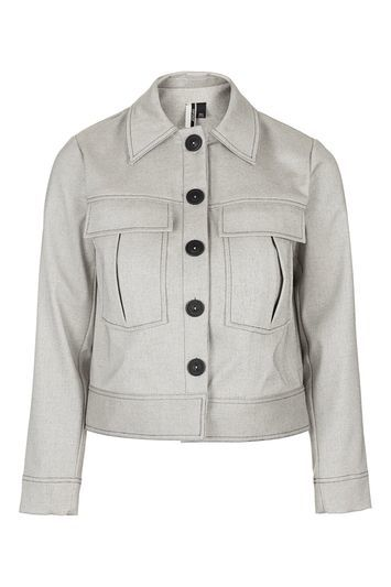 Bonded Button Down Jacket - pattern: plain; length: standard; style: single breasted; predominant colour: light grey; occasions: casual, creative work; fit: straight cut (boxy); fibres: polyester/polyamide - 100%; collar: shirt collar/peter pan/zip with opening; sleeve length: long sleeve; sleeve style: standard; texture group: cotton feel fabrics; collar break: high/illusion of break when open; pattern type: fabric; season: s/s 2016; wardrobe: basic