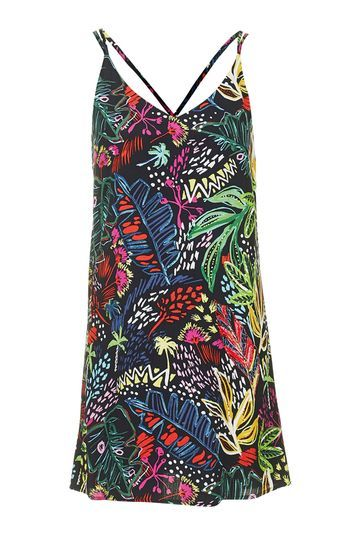 Petite Jungle Print Slip Dress - length: mini; sleeve style: spaghetti straps; predominant colour: royal blue; secondary colour: black; occasions: casual; fit: body skimming; style: slip dress; neckline: scoop; fibres: viscose/rayon - 100%; back detail: crossover; sleeve length: sleeveless; pattern type: fabric; pattern size: standard; pattern: florals; texture group: other - light to midweight; multicoloured: multicoloured; trends: fashion girl; season: s/s 2016; wardrobe: highlight