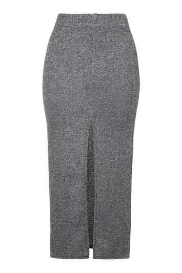 Thigh Split Midi Skirt - length: calf length; fit: tight; waist: high rise; secondary colour: white; predominant colour: charcoal; occasions: casual, creative work; fibres: polyester/polyamide - stretch; style: tube; hip detail: slits at hip; texture group: jersey - clingy; pattern type: fabric; pattern: marl; pattern size: light/subtle (bottom); season: s/s 2016