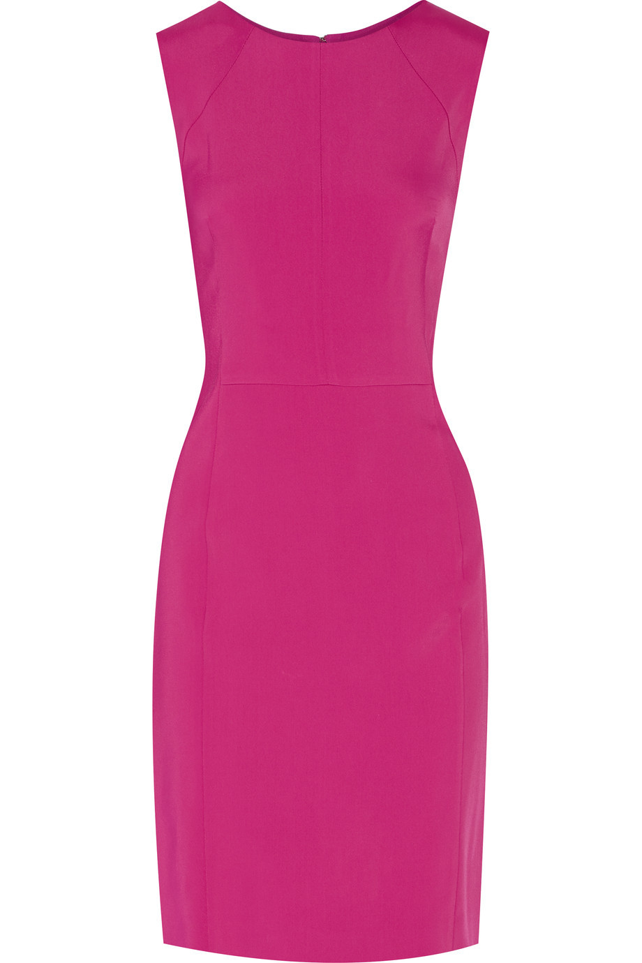 Cady Dress Magenta - style: shift; fit: tailored/fitted; pattern: plain; sleeve style: sleeveless; predominant colour: hot pink; occasions: evening; length: just above the knee; fibres: viscose/rayon - stretch; neckline: crew; sleeve length: sleeveless; pattern type: fabric; texture group: other - light to midweight; season: s/s 2016; wardrobe: event
