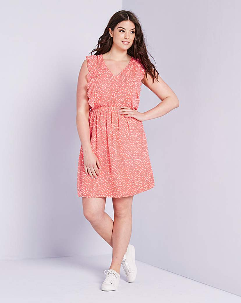 Frill Skater Dress Coral Print - neckline: v-neck; sleeve style: sleeveless; shoulder detail: tiers/frills/ruffles; predominant colour: pink; occasions: casual; length: just above the knee; fit: fitted at waist & bust; style: fit & flare; fibres: polyester/polyamide - 100%; sleeve length: sleeveless; pattern type: fabric; pattern: patterned/print; texture group: jersey - stretchy/drapey; season: s/s 2016