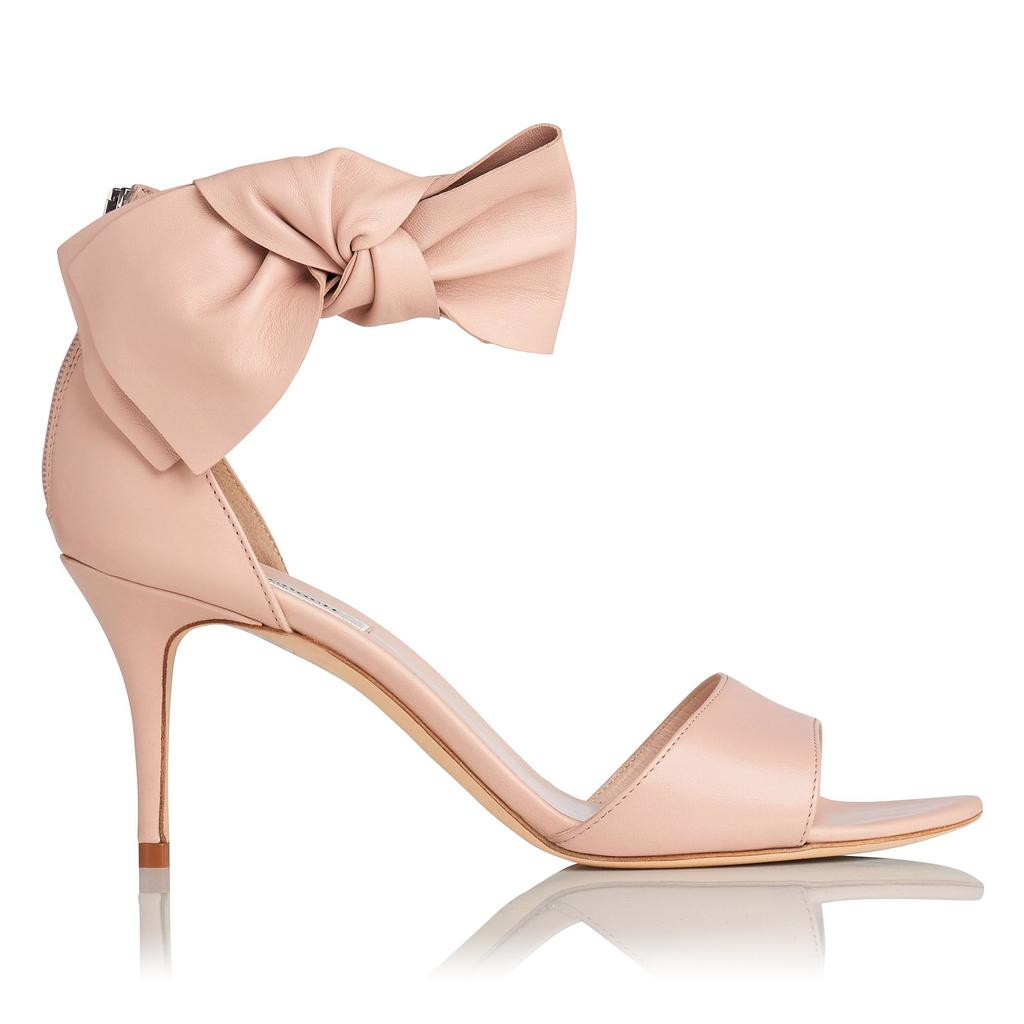 Agata Leather Bow Sandals Pink Marshmallow - predominant colour: blush; occasions: evening, occasion; material: leather; heel height: high; ankle detail: ankle strap; heel: stiletto; toe: open toe/peeptoe; style: courts; finish: plain; pattern: plain; embellishment: bow; season: s/s 2016; wardrobe: event
