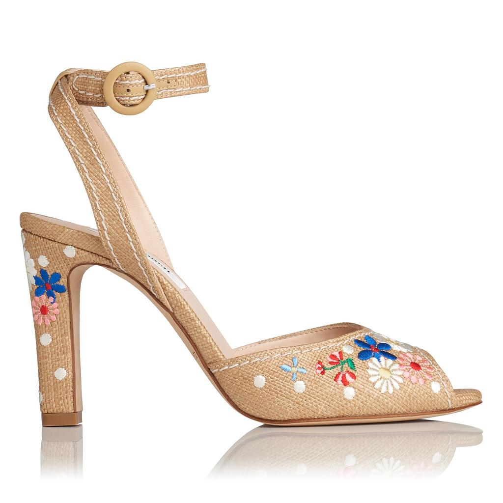 Sandi Embroidered Raffia Sandals - secondary colour: royal blue; predominant colour: nude; occasions: casual; material: leather; heel height: high; embellishment: embroidered; ankle detail: ankle strap; heel: block; toe: open toe/peeptoe; style: standard; finish: plain; pattern: florals; multicoloured: multicoloured; season: s/s 2016; wardrobe: highlight