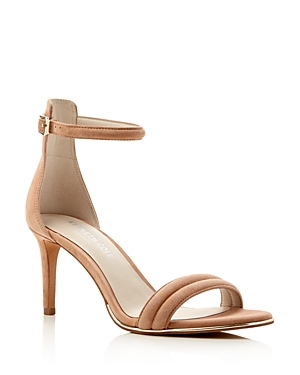 Mallory Suede Ankle Strap High Heel Sandals - predominant colour: camel; occasions: evening, occasion; material: suede; heel height: high; ankle detail: ankle strap; heel: stiletto; toe: open toe/peeptoe; style: strappy; finish: plain; pattern: plain; season: s/s 2016; wardrobe: event