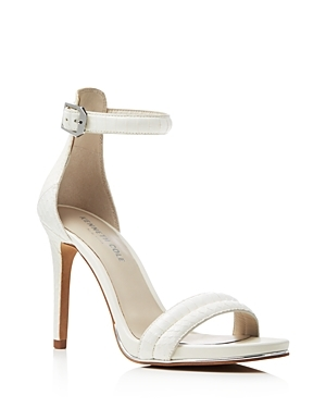 Brooke Snake Embossed Ankle Strap High Heel Sandals - predominant colour: white; occasions: evening, occasion; material: leather; heel height: high; ankle detail: ankle strap; heel: stiletto; toe: open toe/peeptoe; style: strappy; finish: plain; pattern: plain; season: s/s 2016