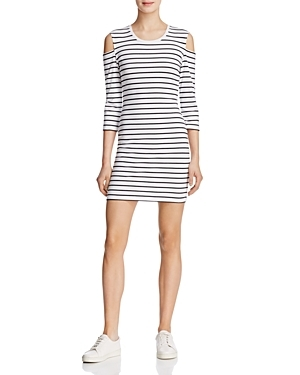 Cold Shoulder Striped Dress - style: shift; length: mini; pattern: horizontal stripes; predominant colour: white; secondary colour: black; occasions: casual; fit: body skimming; fibres: cotton - stretch; neckline: crew; shoulder detail: cut out shoulder; sleeve length: 3/4 length; sleeve style: standard; pattern type: fabric; texture group: jersey - stretchy/drapey; multicoloured: multicoloured; season: s/s 2016; wardrobe: highlight