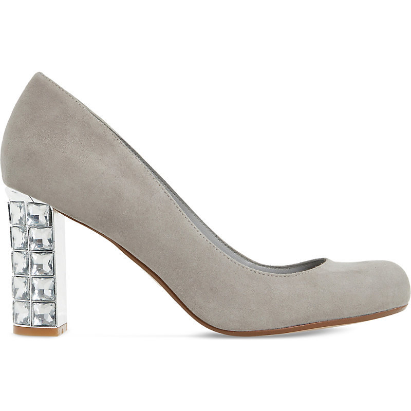 Bindy Suede Jewel Heel Courts, Women's, Eur 37 / 4 Uk Women, Grey Suede - secondary colour: silver; predominant colour: light grey; occasions: evening, occasion; material: suede; heel height: high; embellishment: crystals/glass; heel: block; toe: round toe; style: courts; finish: patent; pattern: plain; season: s/s 2016; wardrobe: event