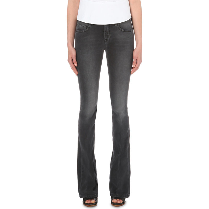Flared Mid Rise Jeans, Women's, Worn Grey - style: flares; length: standard; pattern: plain; pocket detail: traditional 5 pocket; waist: mid/regular rise; predominant colour: charcoal; occasions: casual; fibres: cotton - stretch; jeans detail: washed/faded; texture group: denim; pattern type: fabric; season: s/s 2016