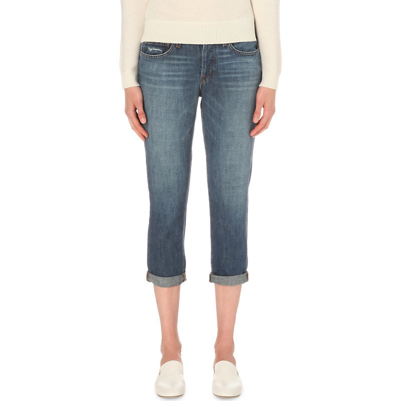 Sadey Slim Fit Mid Rise Jeans, Women's, Westerly - style: skinny leg; pattern: plain; pocket detail: traditional 5 pocket; waist: mid/regular rise; predominant colour: denim; occasions: casual; length: calf length; fibres: cotton - mix; jeans detail: whiskering, shading down centre of thigh; jeans & bottoms detail: turn ups; texture group: denim; pattern type: fabric; season: s/s 2016
