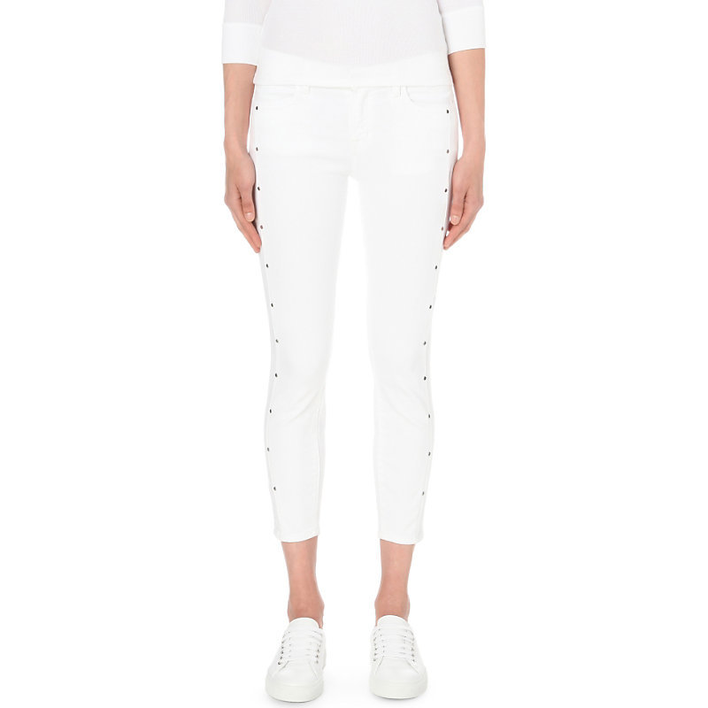 Alba Skinny Mid Rise Jeans, Women's, White - style: skinny leg; pattern: plain; pocket detail: traditional 5 pocket; waist: mid/regular rise; predominant colour: white; occasions: casual; length: calf length; fibres: cotton - stretch; texture group: denim; pattern type: fabric; season: s/s 2016; wardrobe: highlight