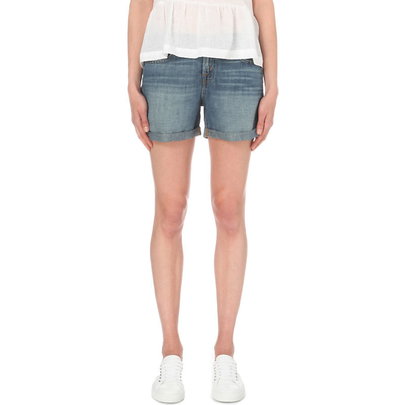 Joey Cotton Blend Shorts, Women's, Westerly - pattern: plain; pocket detail: traditional 5 pocket; waist: mid/regular rise; predominant colour: denim; occasions: casual, holiday; fibres: cotton - stretch; texture group: denim; pattern type: fabric; season: s/s 2016; style: denim; length: short shorts; fit: skinny/tight leg; wardrobe: holiday