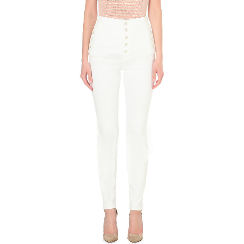 Natasha Skinny High Rise Jeans, Women's, White - style: skinny leg; length: standard; pattern: plain; waist: high rise; pocket detail: traditional 5 pocket; predominant colour: white; occasions: casual, evening, creative work; fibres: cotton - stretch; texture group: denim; pattern type: fabric; season: s/s 2016; wardrobe: highlight