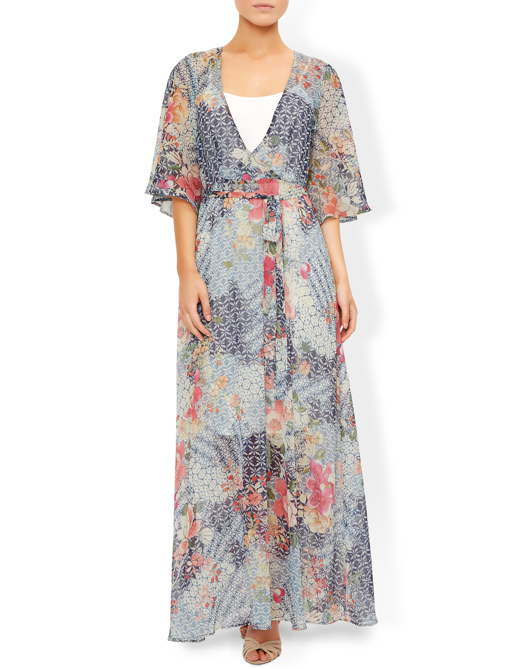 Janine Printed Wrap Maxi Dress - style: faux wrap/wrap; neckline: low v-neck; waist detail: belted waist/tie at waist/drawstring; secondary colour: pink; predominant colour: light grey; occasions: evening; length: floor length; fit: body skimming; fibres: polyester/polyamide - stretch; sleeve length: half sleeve; sleeve style: standard; texture group: sheer fabrics/chiffon/organza etc.; pattern type: fabric; pattern: florals; multicoloured: multicoloured; season: s/s 2016