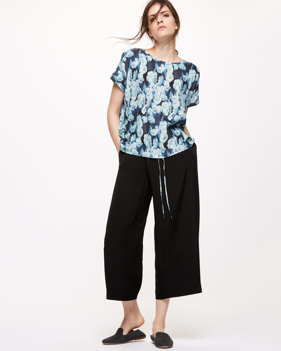Wrap Front Trouser - pattern: plain; waist: mid/regular rise; predominant colour: black; occasions: casual, creative work; length: calf length; fibres: viscose/rayon - 100%; fit: wide leg; pattern type: fabric; texture group: other - light to midweight; style: standard; season: s/s 2016; wardrobe: basic