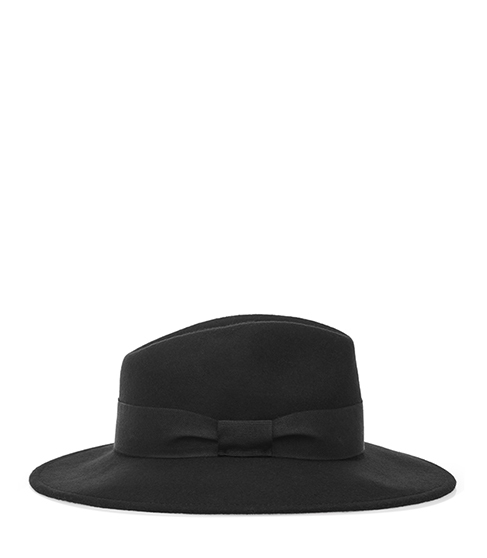 Ava Felt Fedora - predominant colour: black; occasions: casual; type of pattern: standard; style: fedora; size: standard; material: felt; pattern: plain; embellishment: bow; season: s/s 2016; wardrobe: highlight