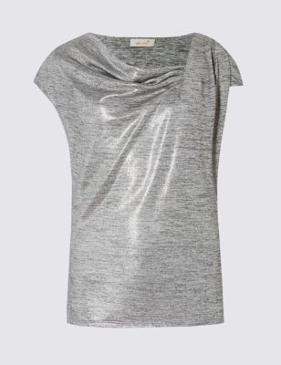 Metallic Cowl Neck Short Sleeve Jersey Top - neckline: cowl/draped neck; pattern: plain; sleeve style: asymmetric sleeve; bust detail: ruching/gathering/draping/layers/pintuck pleats at bust; predominant colour: silver; occasions: evening; length: standard; style: top; fibres: polyester/polyamide - stretch; fit: body skimming; sleeve length: short sleeve; pattern type: fabric; texture group: jersey - stretchy/drapey; season: s/s 2016; wardrobe: event; trends: metallics, sparkle