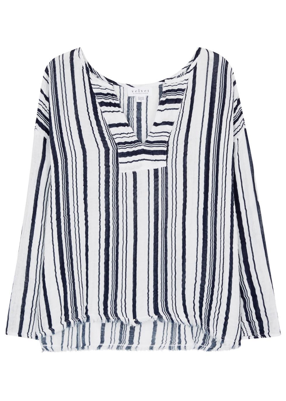 Celestia Striped Cotton Top - neckline: v-neck; pattern: vertical stripes; predominant colour: white; secondary colour: black; occasions: casual, holiday; length: standard; style: top; fibres: cotton - 100%; fit: body skimming; sleeve length: long sleeve; sleeve style: standard; pattern type: fabric; texture group: jersey - stretchy/drapey; pattern size: big & busy (top); multicoloured: multicoloured; season: s/s 2016