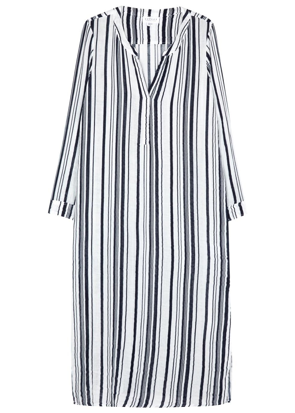 Genevieve Striped Cotton Midi Dress - style: tunic; length: calf length; neckline: v-neck; fit: loose; pattern: vertical stripes; predominant colour: white; secondary colour: black; occasions: casual; fibres: cotton - 100%; sleeve length: long sleeve; sleeve style: standard; pattern type: fabric; texture group: jersey - stretchy/drapey; season: s/s 2016; wardrobe: highlight