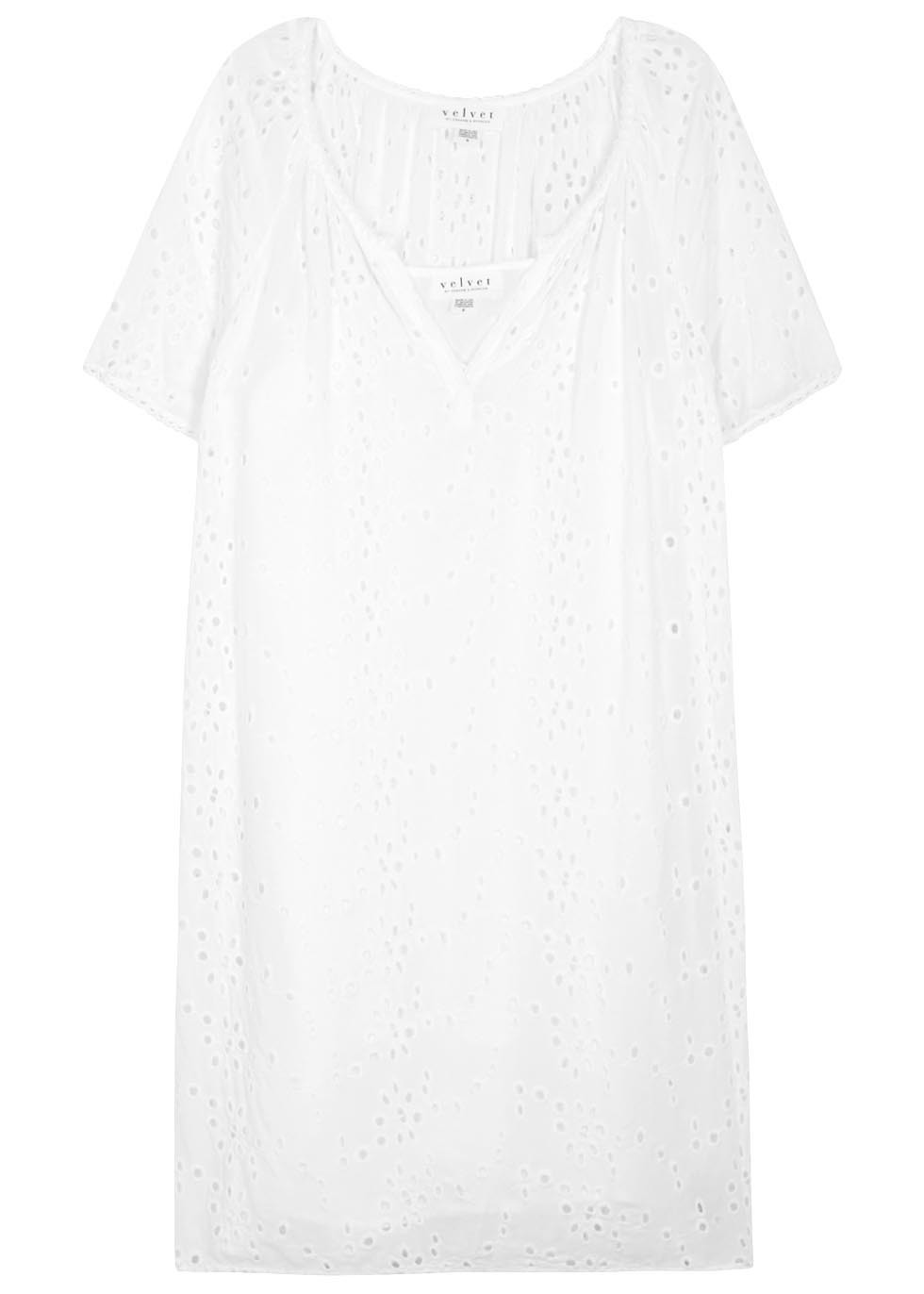 Jefferson White Broderie Anglaise Dress - style: shift; neckline: v-neck; pattern: plain; predominant colour: white; occasions: casual; length: just above the knee; fit: body skimming; fibres: viscose/rayon - 100%; sleeve length: short sleeve; sleeve style: standard; pattern type: fabric; texture group: broiderie anglais; season: s/s 2016; wardrobe: highlight