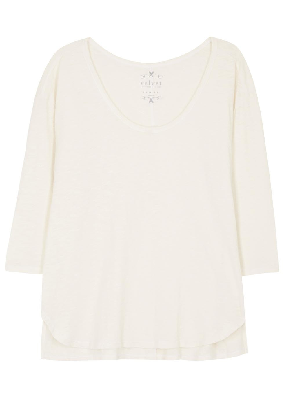 Picarda Ivory Slubbed Cotton Top - neckline: round neck; pattern: plain; predominant colour: ivory/cream; occasions: casual; length: standard; style: top; fibres: cotton - 100%; fit: body skimming; sleeve length: long sleeve; sleeve style: standard; pattern type: fabric; texture group: jersey - stretchy/drapey; season: s/s 2016; wardrobe: basic