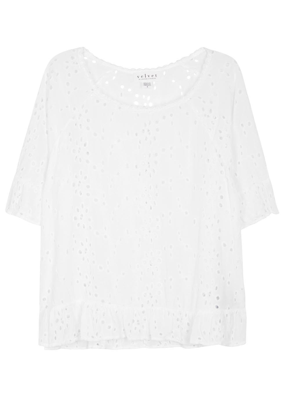 Ricky White Broderie Anglaise Top - neckline: round neck; pattern: plain; predominant colour: white; occasions: casual; length: standard; style: top; fibres: viscose/rayon - 100%; fit: body skimming; sleeve length: short sleeve; sleeve style: standard; pattern type: fabric; texture group: broiderie anglais; season: s/s 2016