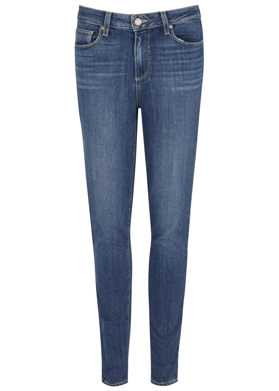 Hoxton Cropped Skinny Jeans - style: skinny leg; length: standard; pattern: plain; pocket detail: traditional 5 pocket; waist: mid/regular rise; predominant colour: navy; occasions: casual; fibres: cotton - stretch; jeans detail: whiskering; texture group: denim; pattern type: fabric; season: s/s 2016; wardrobe: basic