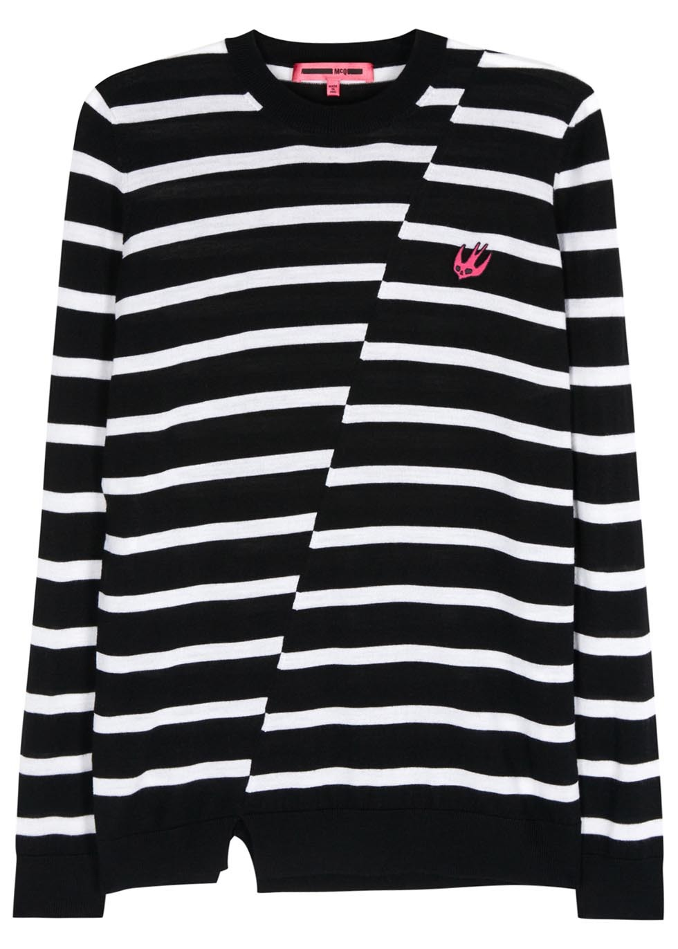 X Tom Tosseyn Striped Wool Jumper - pattern: horizontal stripes; style: standard; secondary colour: white; predominant colour: black; occasions: casual; length: standard; fibres: wool - 100%; fit: standard fit; neckline: crew; sleeve length: long sleeve; sleeve style: standard; texture group: knits/crochet; pattern type: fabric; multicoloured: multicoloured; season: s/s 2016; wardrobe: highlight