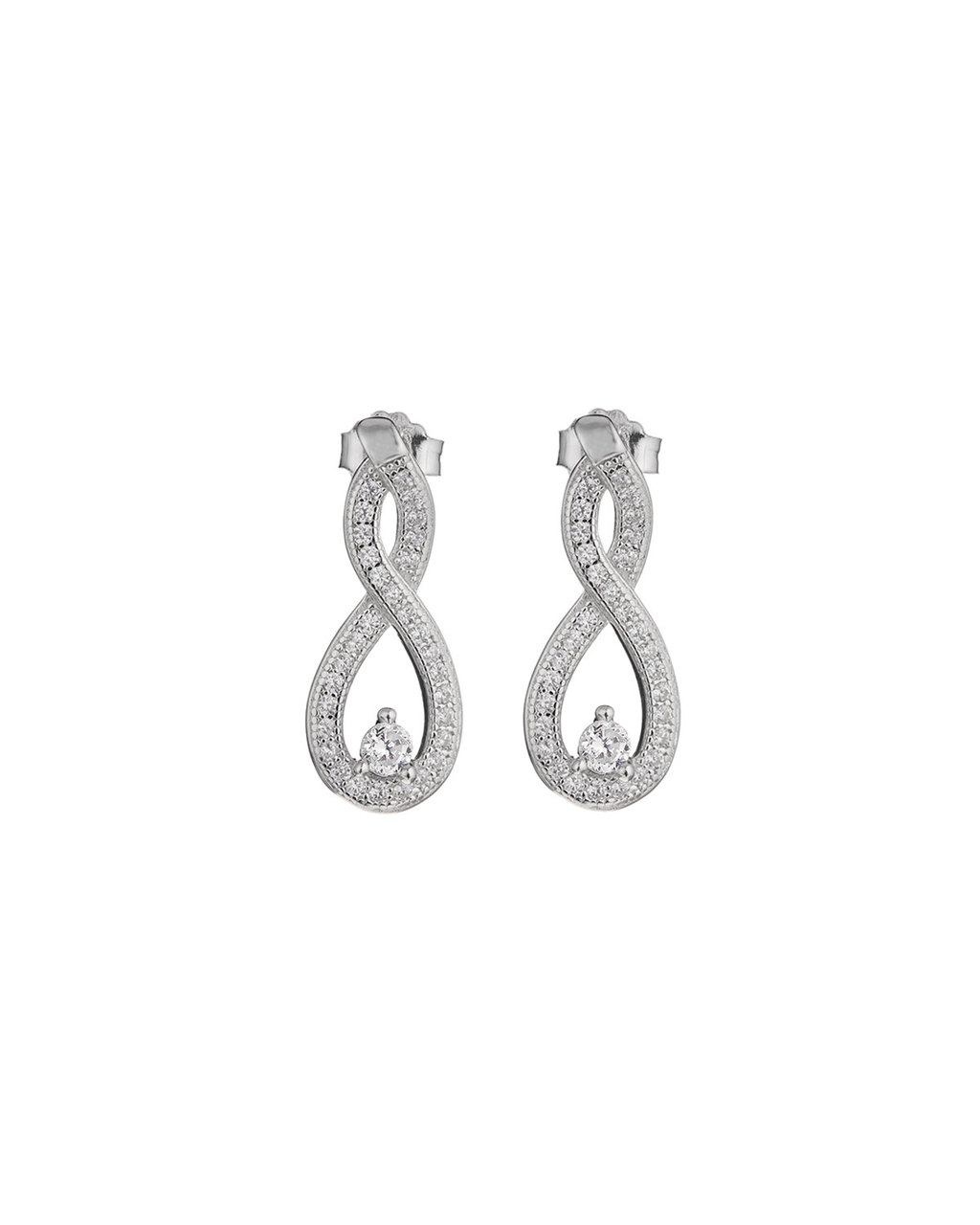 Cubic Zirconia Infinity Studs - predominant colour: silver; occasions: evening, occasion; style: drop; length: mid; size: large/oversized; material: chain/metal; fastening: pierced; finish: metallic; embellishment: crystals/glass; season: s/s 2016; wardrobe: event