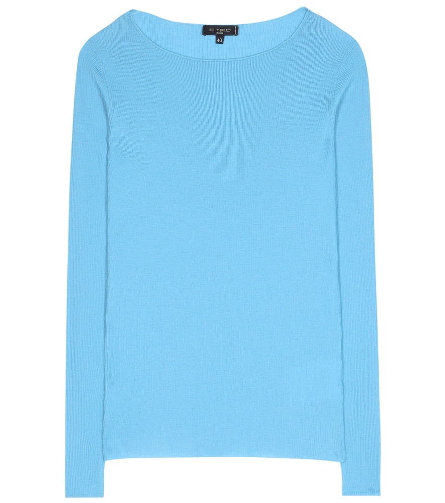 Ribbed Cashmere Sweater - neckline: round neck; pattern: plain; style: standard; predominant colour: pale blue; occasions: casual; length: standard; fit: standard fit; fibres: cashmere - 100%; sleeve length: long sleeve; sleeve style: standard; texture group: knits/crochet; pattern type: fabric; season: s/s 2016; wardrobe: highlight