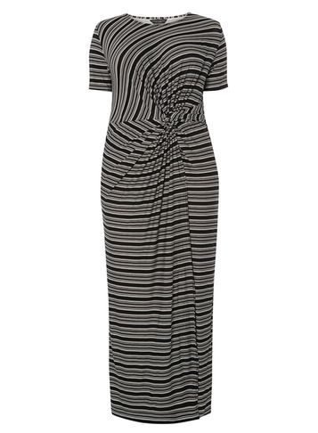 Womens **Dp Curve Blush Stripe Knot Fro Pink - pattern: horizontal stripes; style: maxi dress; length: ankle length; waist detail: flattering waist detail; predominant colour: mid grey; secondary colour: black; occasions: casual; fit: body skimming; fibres: viscose/rayon - stretch; neckline: crew; sleeve length: short sleeve; sleeve style: standard; pattern type: fabric; texture group: jersey - stretchy/drapey; multicoloured: multicoloured; season: s/s 2016; wardrobe: basic