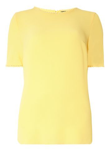 Womens **Tall Lemon Pom Pom Trim Tee Yellow - pattern: plain; style: t-shirt; predominant colour: primrose yellow; occasions: casual; length: standard; fibres: polyester/polyamide - stretch; fit: body skimming; neckline: crew; sleeve length: short sleeve; sleeve style: standard; pattern type: fabric; texture group: jersey - stretchy/drapey; season: s/s 2016; wardrobe: highlight