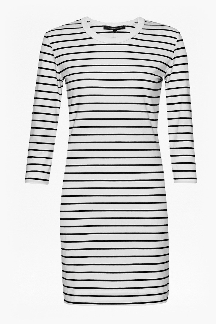 Tim Tim Stripe Dress Black/Classic Cream - style: shift; neckline: round neck; pattern: horizontal stripes; secondary colour: white; predominant colour: navy; occasions: casual, creative work; length: just above the knee; fit: body skimming; fibres: cotton - 100%; sleeve length: 3/4 length; sleeve style: standard; pattern type: fabric; pattern size: big & busy; texture group: jersey - stretchy/drapey; season: s/s 2016; wardrobe: basic