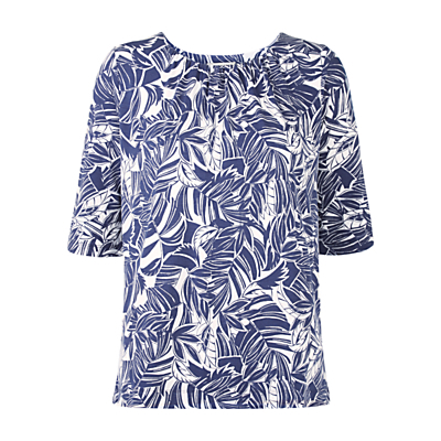 Palm Print Top, Blue/White - neckline: round neck; secondary colour: white; predominant colour: royal blue; occasions: casual, holiday; length: standard; style: top; fibres: viscose/rayon - stretch; fit: body skimming; sleeve length: short sleeve; sleeve style: standard; pattern type: fabric; pattern: florals; texture group: other - light to midweight; pattern size: big & busy (top); season: s/s 2016; wardrobe: highlight