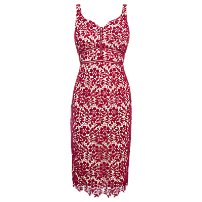 Blakely Lace Dress, Merlot - style: shift; fit: tailored/fitted; sleeve style: sleeveless; neckline: sweetheart; hip detail: fitted at hip; secondary colour: white; predominant colour: burgundy; occasions: evening, occasion; length: on the knee; fibres: polyester/polyamide - 100%; sleeve length: sleeveless; texture group: lace; pattern type: fabric; pattern size: standard; pattern: patterned/print; season: s/s 2016; wardrobe: event
