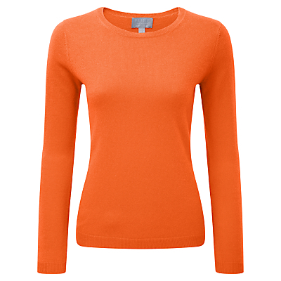 Cairn Round Neck Cashmere Jumper, Sunset Orange - neckline: round neck; pattern: plain; style: standard; predominant colour: bright orange; occasions: casual, creative work; length: standard; fit: slim fit; fibres: cashmere - 100%; sleeve length: long sleeve; sleeve style: standard; texture group: knits/crochet; pattern type: knitted - fine stitch; season: s/s 2016; wardrobe: highlight