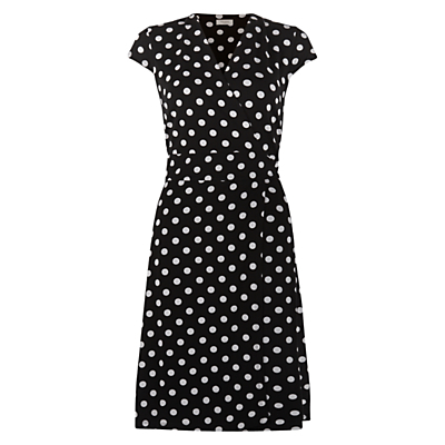 Cap Sleeve Sally Dress, Black/Ivory - style: faux wrap/wrap; neckline: v-neck; sleeve style: capped; pattern: polka dot; secondary colour: white; predominant colour: black; length: just above the knee; fit: body skimming; sleeve length: short sleeve; trends: monochrome; texture group: jersey - clingy; pattern type: fabric; pattern size: standard; fibres: viscose/rayon - mix; occasions: creative work; season: s/s 2016