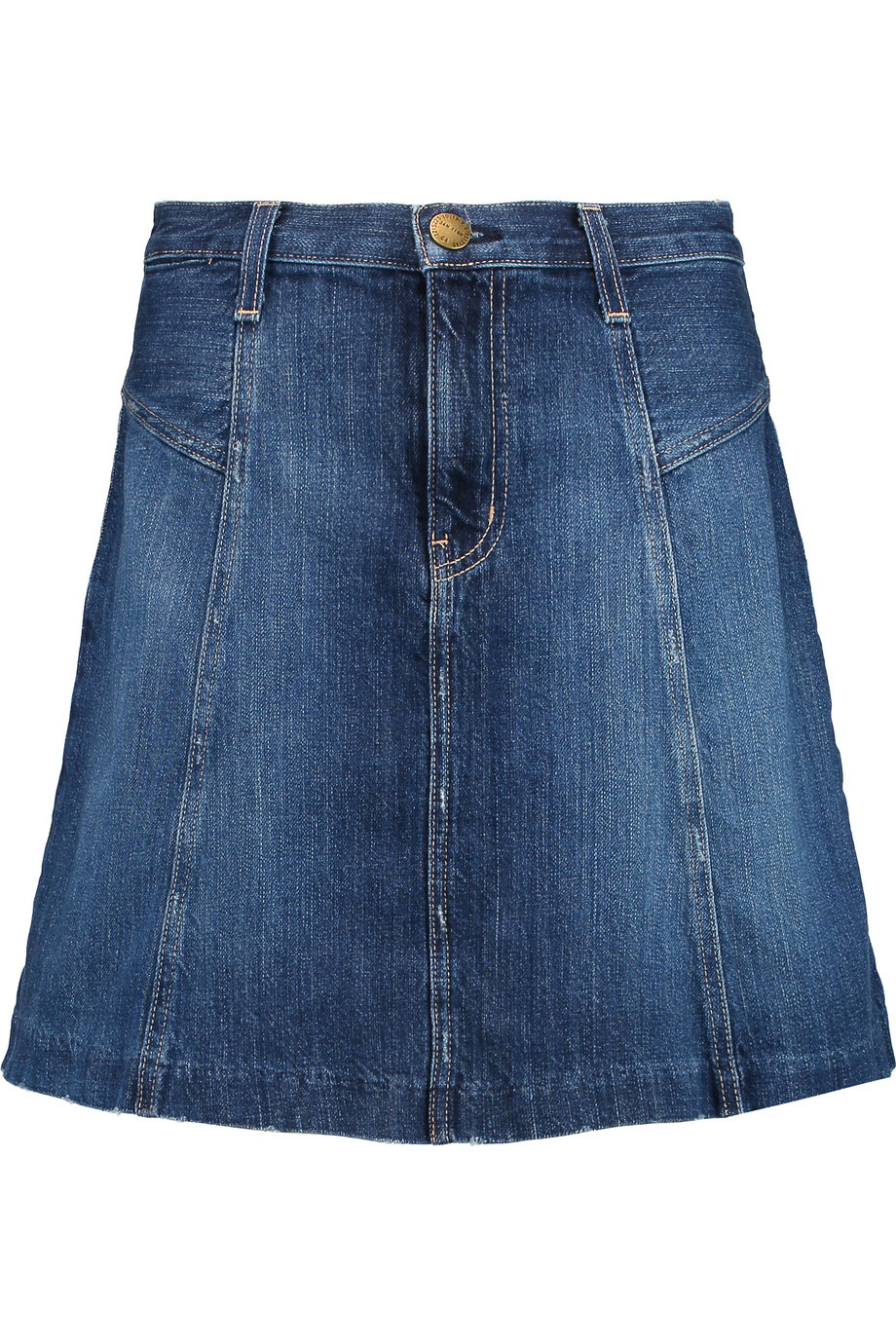 The Skater Denim Mini Skirt Dark Denim - length: mid thigh; pattern: plain; fit: loose/voluminous; waist: high rise; predominant colour: denim; occasions: casual, creative work; style: a-line; fibres: cotton - 100%; texture group: denim; pattern type: fabric; season: s/s 2016