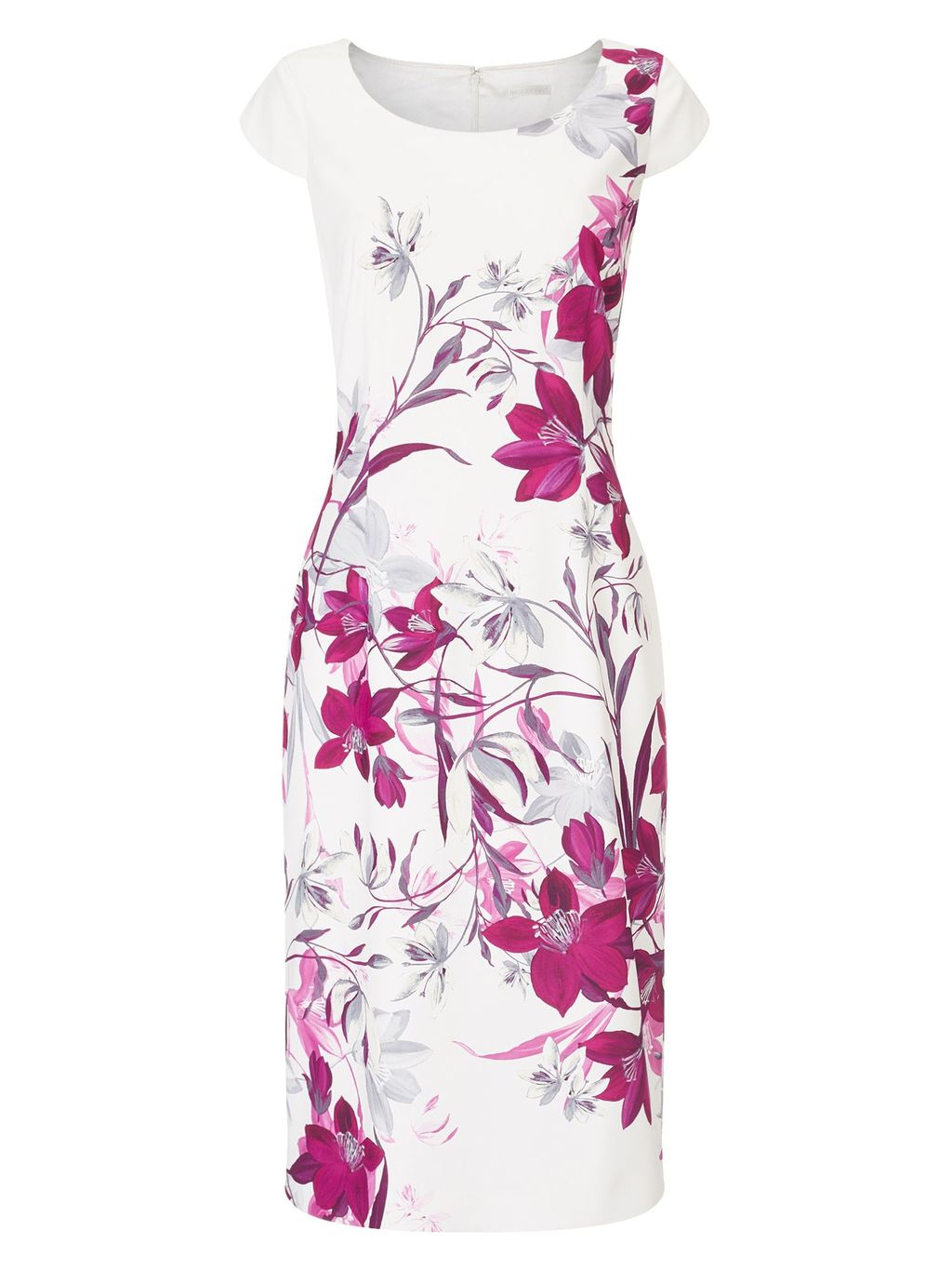 Bali Floral Print Dress, Multi Coloured - style: shift; neckline: round neck; sleeve style: capped; fit: tailored/fitted; predominant colour: ivory/cream; secondary colour: hot pink; occasions: evening; length: on the knee; fibres: polyester/polyamide - 100%; sleeve length: short sleeve; pattern type: fabric; pattern: florals; texture group: other - light to midweight; season: s/s 2016; wardrobe: event